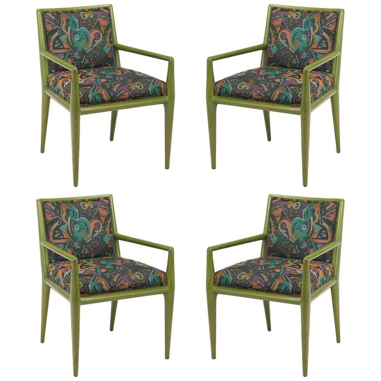 Four T.H. Robsjohn-Gibbings Moss Green Walnut Armchairs