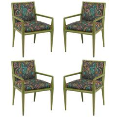 Four T.H. Robsjohn-Gibbings Moss Green Walnut Armchairs