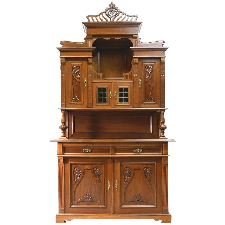 early 20th century art nouveau buffet cupboard or bar cabinet in french walnut for sale at 1stdibs. Black Bedroom Furniture Sets. Home Design Ideas