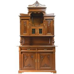 Early 20th Century Art Nouveau Buffet Cupboard or Bar Cabinet in French Walnut