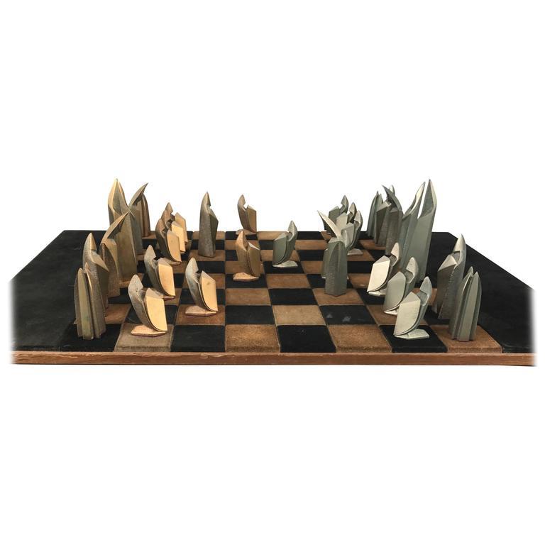 Mid Century Modern Bronze And Suede Chess Set Cubist Art