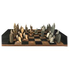 Mid-Century Modern Bronze and Suede Chess Set, Cubist, Art Deco