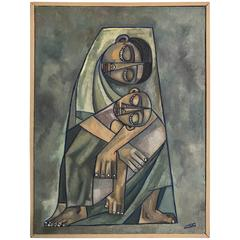 "Modernist Oil on Canvas, ""Mother and Child"", Jorge Castillo, cubist, ollitsac"
