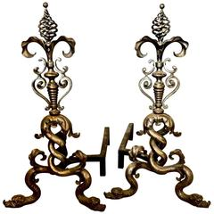 Stunning Pair of Large 20th Century Iron and Steel Baroque Dolphin Andirons
