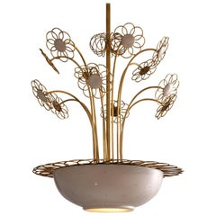 Elegant Floral Chandelier Attributed to Paavo Tynell, 1950s