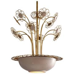 Elegant Floral Chandelier by Paavo Tynell, 1950s