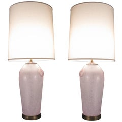 Pair of Vintage Etruscan Glass Lamps by Chapman