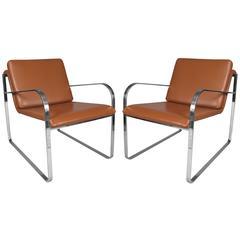 Pair of Italian Polished Steel & Leather Bugatti Lounge Chairs