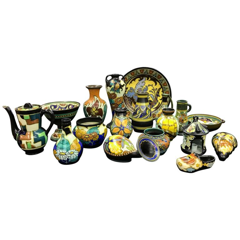 18-Piece Collection of Signed Gouda Pottery