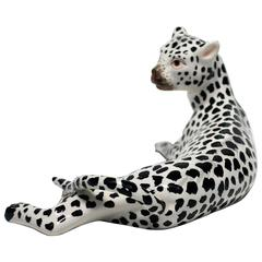 Italian Art Deco Black and White Cheetah Leopard Cat Sculpture