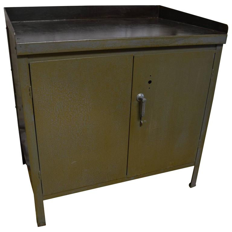 Industrial Steel Two Door Cabinet At 1stdibs