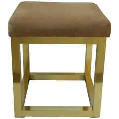 Modern Brass Bench or Stool in the Style of Paul Evans, 1970s