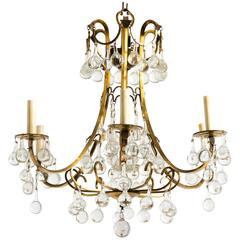 Brass and Crystal Ball Chandelier Labeled Belgium