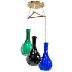 Danish Multicolored Glass Staggered Three Pendant Chandelier