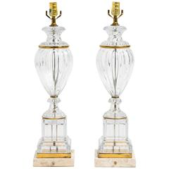 Pair of Large Classical Glass Table Lamps with Brass Accents