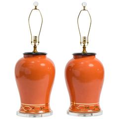 Pair of Orange Overscale Ceramic Ginger Jar Table Lamps
