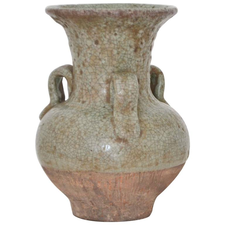 Asian Celadon Crackle Glazed Ceramic Vase