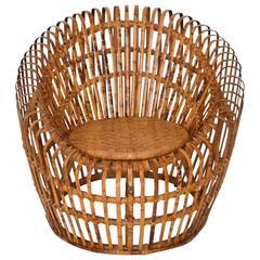 Mid-Century Italian Slatted Bamboo Tub Chair