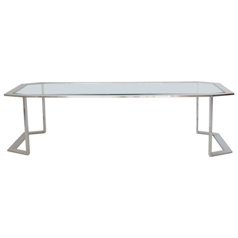 Postmodern Chrome and Brass Coffee Table For Sale 4