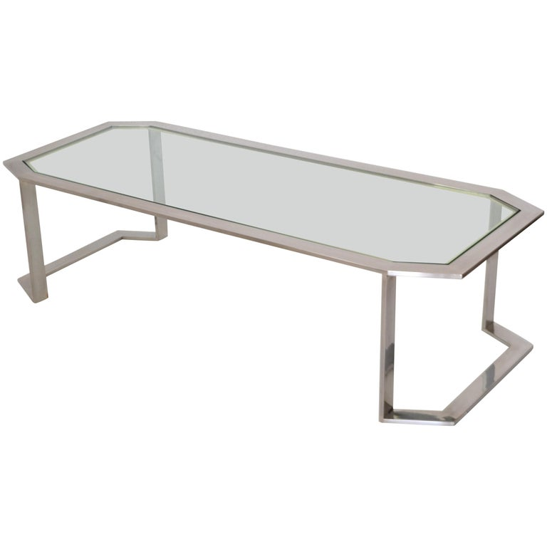 Postmodern Chrome and Brass Coffee Table For Sale