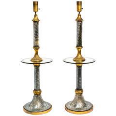 Pair of 1940s Murano Mirrored Floor Lamps