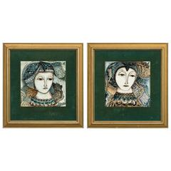 Pair of Italian Hand-Painted Framed Tiles