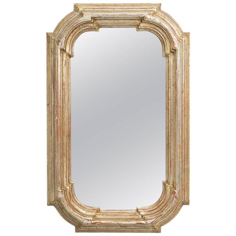 Silver leaf chunky framed mirror for sale at 1stdibs for Silver framed mirrors on sale