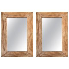 Pair of 1950s Wormwood Framed Mirrors