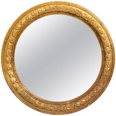 Large Round Carved Giltwood Mirror