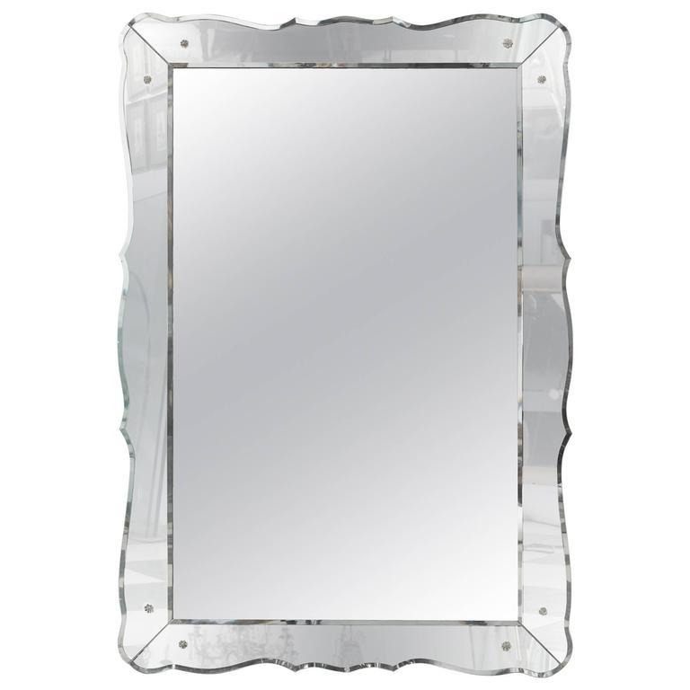 Large Mid-Century Venetian Style Beveled Mirror