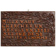 Carved Wood Sign in French