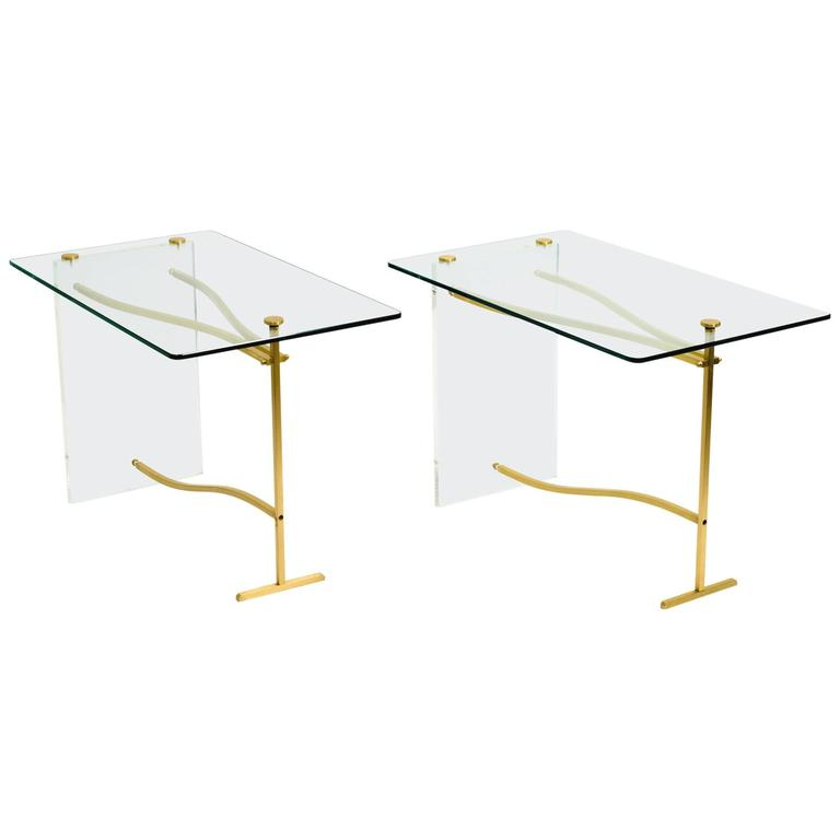Lucite and Brass Glass Top Side Tables