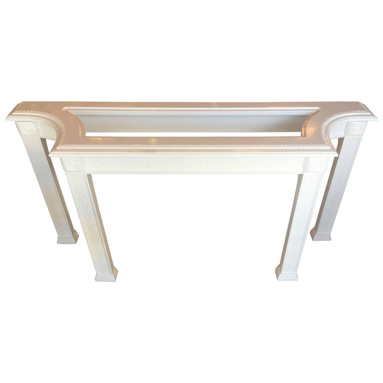 Fretwork Console Sofa Table Chinoiserie Newly Lacquered White