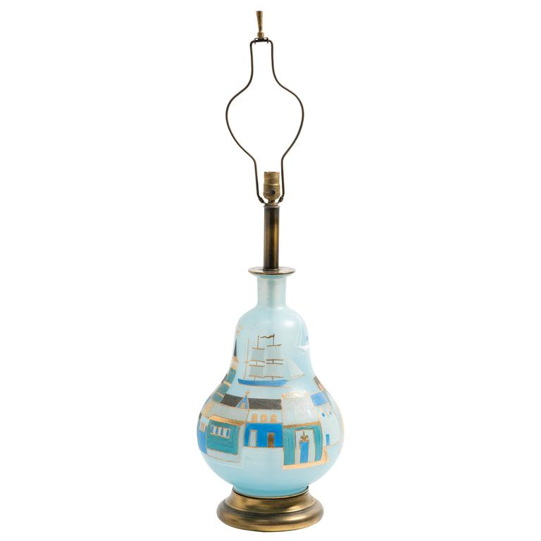 Hand-Painted Colonial Boston Scene Glass Table Lamp