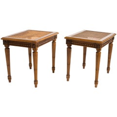 Pair of Regency Style Caned Side Tables
