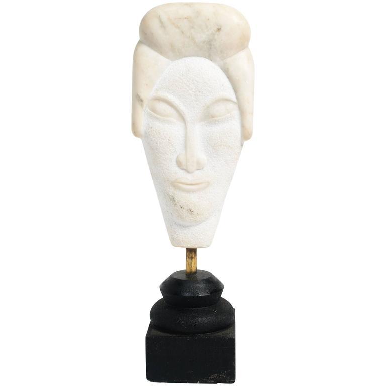 Asian Marble Bust Sculpture