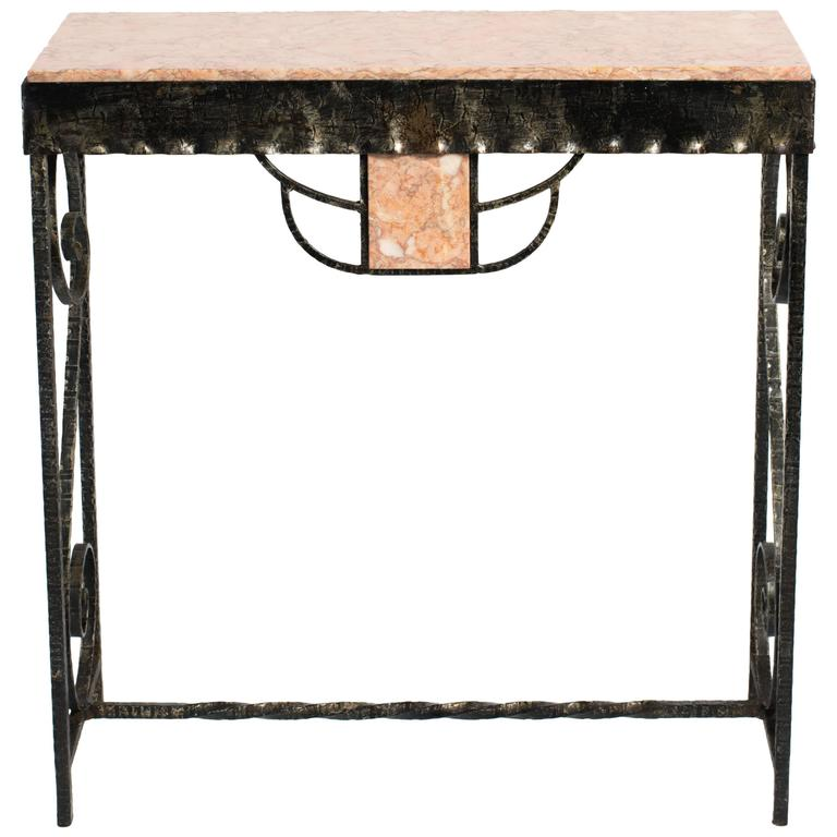 Art Deco Style Iron and Marble Console Table