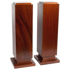 Pair of Custom French Art Deco Style Mahogany Pedestals