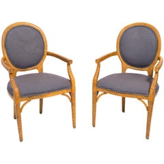 Pair of Carved Wood Upholstered Armchairs