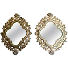 Pair of Large Quatrefoil Gilt Baroque Style Mirrors