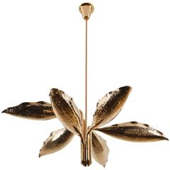 Hand Hammered Brass Six-Arm Chandelier by Angelo Lelli for Arredoluce