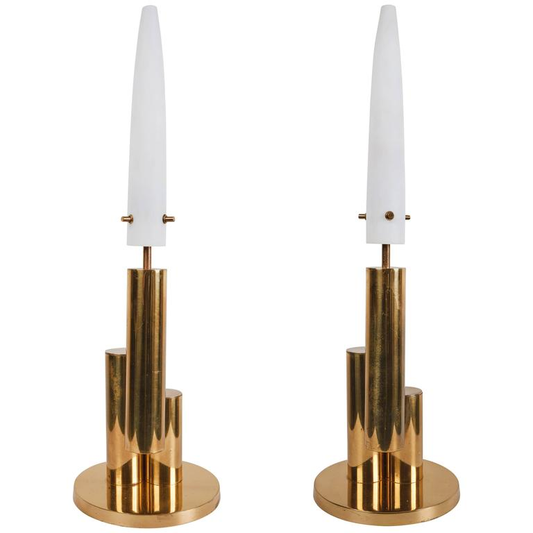 Pair of Brass and Satin Glass Italian Table Lamps