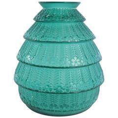 """René Lalique Green """"Ferrière"""" Vase"""