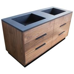 Wrigley Modern Concrete and Walnut Vanity