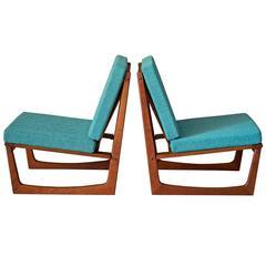 Danish Teak Slipper Lounge Chairs by Jacob Kjaer