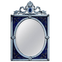 1880-1900 Venetian Mirror with Pediment Blue Glass Adorned with Flowers
