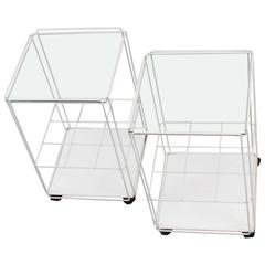 Pair of Mid-Century Modern Two-Tier Isocele Tables or Trolleys by Max Sauze