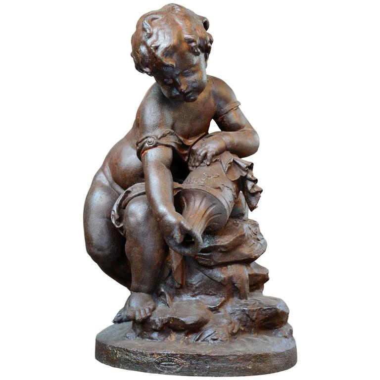 "Cast Iron Fountain Center ""Putto Holding an Urn"", 19th Century"