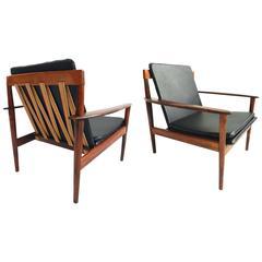 Pair of Grete Jalk Teak Easy Chairs Mod. PJ 56/1 Poul Jeppesen, Danish Modern