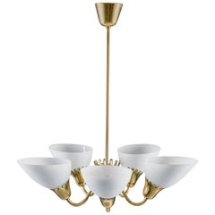 Swedish Brass and Glass Chandelier in the Manner of Carl Axel Acking